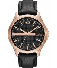 Armani Exchange AX2129 メンズはゴールドブラックレザーストラップドレス時計をバラ