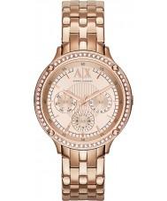 Armani Exchange AX5406 レディースは、金メッキのブレスレットドレス時計をバラ