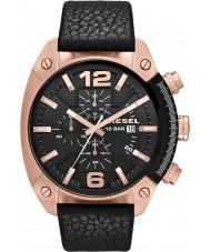 Diesel DZ4297 メンズオーバーフロークロノグラフブラックレザーストラップの腕時計