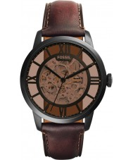 Fossil ME3098 メンズ町民茶色の革自動巻きの時計