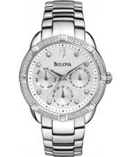 Bulova 96R195 レディースダイヤモンドシルバースチールブレスレットクロノグラフウォッチ