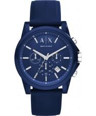 Armani Exchange AX1327 スポーツ青いシリコーンクロノグラフウォッチ