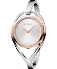 Calvin Klein K6L2MB16 レディースシルバースチールバングルウォッチを点灯します