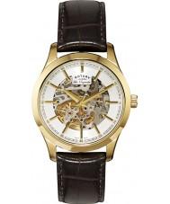 Rotary GS90526-06 メンズレORIGINALES自動スケルトンゴールドブラウンの腕時計