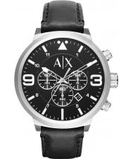 Armani Exchange AX1371 メンズ都市ブラックレザーストラップクロノグラフウォッチ