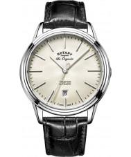 Rotary GS90161-32 メンズレORIGINALES伝統自動スチールブラックレザーストラップの腕時計