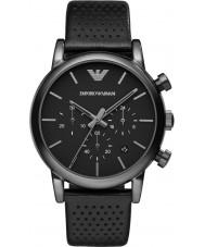 Emporio Armani AR1737 メンズ古典的なクロノグラフIPブラックレザーストラップの腕時計