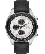 Armani Exchange AX1611 メンズブラックレザーストラップクロノグラフスポーツウォッチ