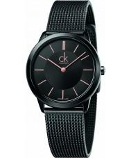 Calvin Klein K3M22421 レディース最小限の黒スチールメッシュブレスレットウォッチ
