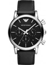 Emporio Armani AR1733 メンズ古典的なクロノグラフブラックレザーストラップの腕時計