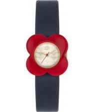 Orla Kiely OK2062 女性は赤い花ケースネイビーレザーストラップの腕時計をケシ