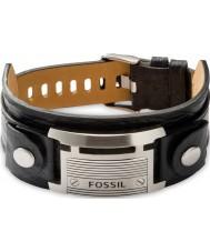 Fossil JF84816040 メンズヴィンテージカジュアルな黒革のブレスレット