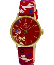 Radley RY2000 レディースサーカスプリント赤い革ストラップの時計