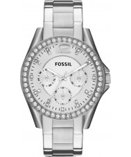 Fossil ES3202 レディースシルバースチールクロノグラフウォッチをライリー