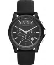 Armani Exchange AX1326 スポーツ黒のシリコーンクロノグラフウォッチ