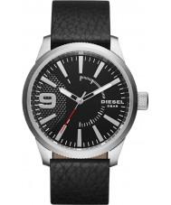 Diesel DZ1766 メンズやすりブラックレザーストラップの腕時計