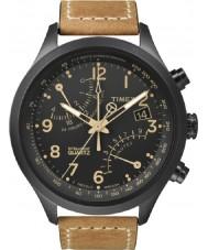 Timex T2N700 メンズ黒黄褐色のフライバッククロノグラフウォッチ
