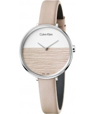 Calvin Klein K7A231XH レディースベージュレザーストラップ時計を上昇します
