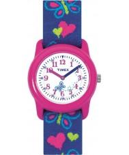 Timex T89001 キッズ蝶の心弾性生地のストラップの腕時計
