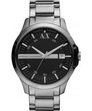 Armani Exchange AX2103 メンズ黒銀のブレスレットドレスウォッチ
