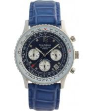 Krug-Baumen 400507DS エア旅行ダイヤモンドブルーダイヤルブルーのストラップ