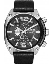 Diesel DZ4341 メンズオーバーフロークロノグラフブラックレザーストラップの腕時計