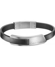 Calvin Klein KJ4MBB090100 メンズ黒革のブレスレットをバンプ