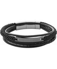 Fossil JF02378793 メンズヴィンテージカジュアルな黒レイヤードブレスレット