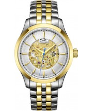 Rotary GB05033-06 メンズシャンパン2トーンゴールドスケルトン機械式腕時計をメッキ