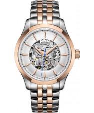 Rotary GB05034-06 メンズ2トーンは金がスケルトン機械式腕時計をメッキローズ
