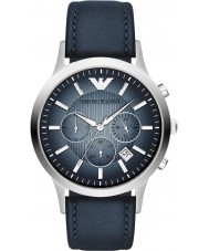 Emporio Armani AR2473 メンズ古典的なクロノグラフシルバーブルー時計