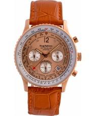 Krug-Baumen 400704DS エア旅行ダイヤモンドオレンジレザーストラップの腕時計