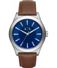 Armani Exchange AX2324 メンズドレスダークブラウンレザーストラップの腕時計