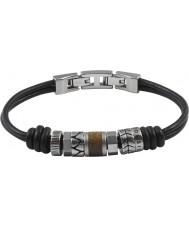 Fossil JF84196040 メンズヴィンテージカジュアルな黒革のブレスレット
