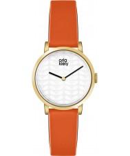 Orla Kiely OK2114 レディースルナオレンジレザーストラップの腕時計