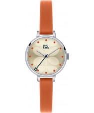 Orla Kiely OK2013 オレンジ色のレザーストラップの腕時計アイビーレディース