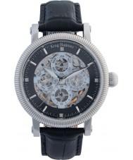 Krug-Baumen 60211DM メンズ雄大なブラックレザーストラップの腕時計