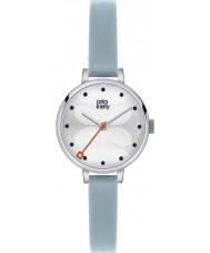 Orla Kiely OK2015 スカイブルーレザーストラップ時計ツタレディース