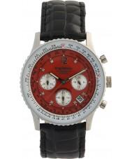 Krug-Baumen 400510DS エア旅行赤い文字盤、黒ストラップ