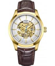 Rotary GS05035-03 メンズゴールドブラウンスケルトン機械式腕時計をメッキ