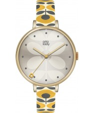 Orla Kiely OK2136 黄色のレザーストラップの腕時計アイビーレディース