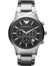 Emporio Armani AR2434 メンズ古典的なクロノグラフ黒銀の腕時計