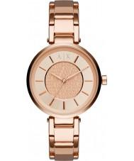 Armani Exchange AX5317 都市部の女性は、金メッキブレスレットの時計をバラ
