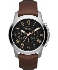 Fossil FS4813 メンズは、黒茶色のクロノグラフ時計を付与します